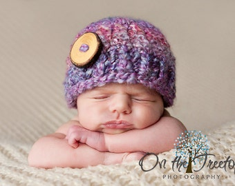0 to 3 Months Baby Girl Hat, Adorable Chunky Flapper Hat, Mixed Berries with Wooden Button. Great for Newborn Photo Shoot. Baby Shower Gift.
