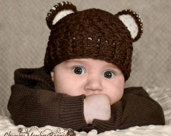 Newborn Baby Boy Hat, 0 to 1 Months Baby Boy Monkey Hat, Baby Flapper Beanie, Chocolate Brown with Cream Ears. Baby Photo Props. Baby Gift.
