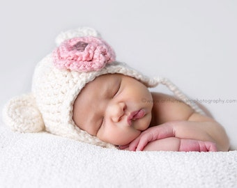 Organic Baby Girl Hat, 3 to 6 Months Teddy Bear Earflap Hat, Cream with Strawberry Pink Flower. Very Soft. Photo Props. Baby Shower Gift.