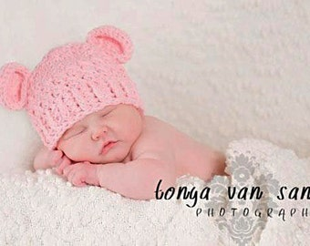 NEWBORN Baby Girl Hat, 0 to 1 Months Baby Girl Monkey Hat, Handmade Baby Hat, Baby Pink with Ears. Great for photo props. Baby Shower Gift.