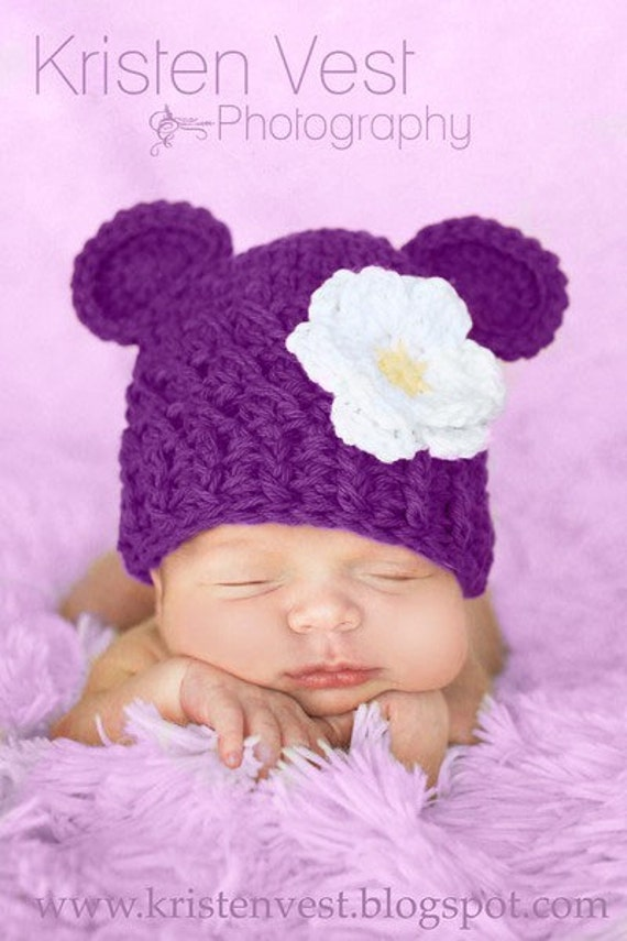 READY TO SHIP, Baby Girl Hat, 3 to 6 Months Baby Girl Hat, Baby Girl Monkey Hat, Dark Grape with White and Yellow Flower. Baby Photo Props.