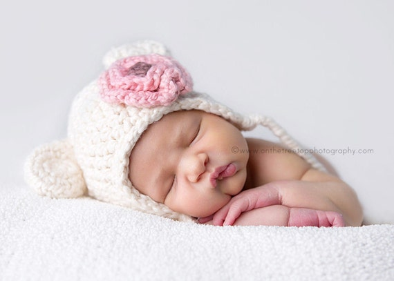 NEWBORN Baby Girl Hat,  Baby Girl Organic Hat, Teddy Bear Hat, Earflap Baby Hat, Cream with Strawberry Pink Flower. Very Soft. Photo Props.