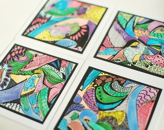 "Original Abstract Artwork Set of 4 Mini Cards 4"" x 4"""