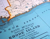 Vintage Map of Rhode Island or South Carolina- 11x14