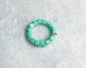 Turquoise Square Beaded Adjustable Memory Wire Ring