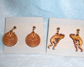 Wood Pendant Animal Earrings: Native Sprial and Kokopelli