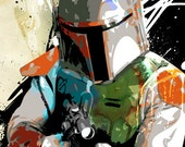 Boba Fett from Star Wars - Movie poster size Pop Art illustration - Canvas art print 24x36