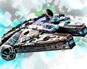 Star Wars Millennium Falcon - Art print illustration - Geekery decor size 8x10