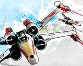 Star Wars X-Wing fighters illustation - Art print size 13x19