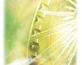 ETHERIAL dreamy romantic green yellow carnival ferris wheel Fine Art Photography print 5x5