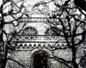 GREYSTONE gothic medieval stone castle artist signed black and white Switzerland Fine Art Travel Photography print 11x17