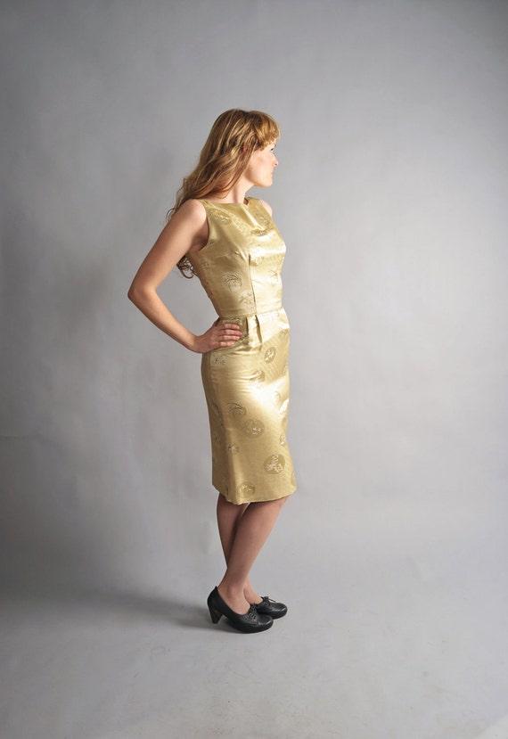 1960s cocktail dress // 60s gold silk wiggle dress // Golden Blossom