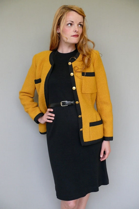 reserved for ching / / Vintage CHANEL BOUTIQUE // Chartreuse And Black Tweed Jacket