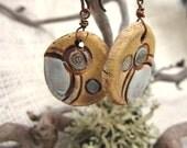 Rustic Ceramic Earrings with Circle Design