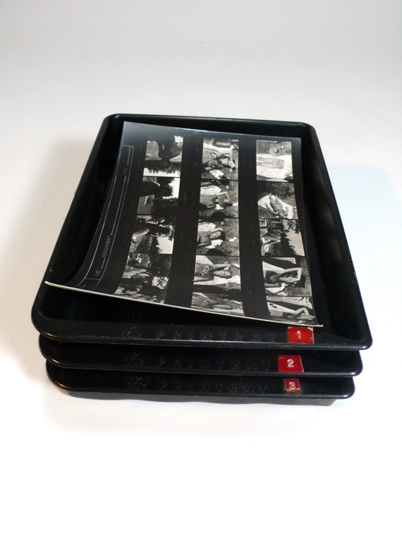 vintage photo DEVELOPING TRAY SET - darkroom photography lab print - 3 black trays - photographer tool developing - so industrial