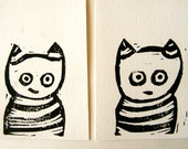 Cat and Cat. Set of 2 linocut prints. Nursery decor. Home decor.