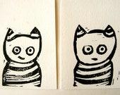 Cat and Cat. Set of 2 linocut prints. Nursery decor. Home decor.