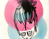 RESERVED FOR TAMMY - The girl who didn't like her feather fascinator. Original illustration