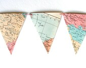 Pastels Spring decor. Vintage map bunting in pastels. Le monde en rose. Shabby chic, romantic home decor.