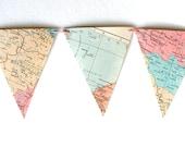 Pastels Spring decor. Vintage map bunting in pastels. Le monde en rose. Shabby chic, romantic home decor.