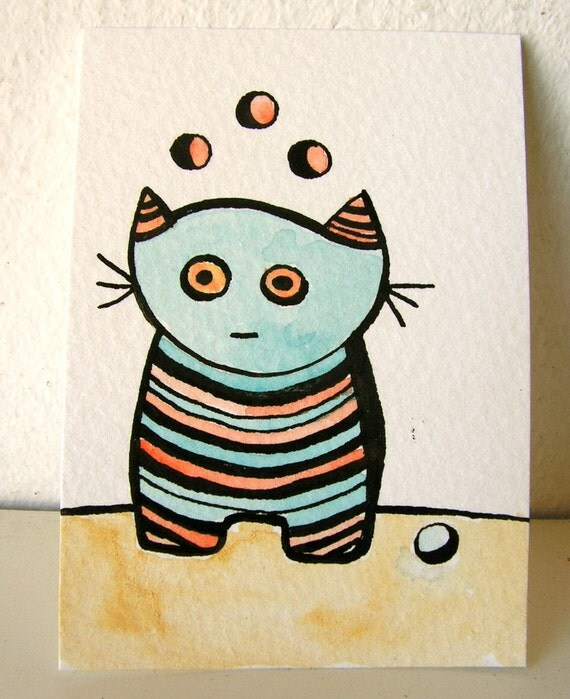 The thinking cat with moons, original ACEO, pen and ink