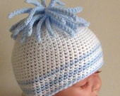 Crochet pattern for cute baby beanie with stripes and tassel trim - INSTANT DOWNLOAD .pdf