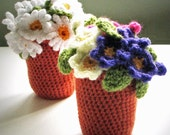 Flowerpots: Crochet pattern for Daisy and Primula / Primrose Flower pots - INSTANT DOWNLOAD pdf