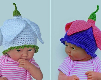 Crochet pattern for Flower Fairy Snowdrop / Fuschia baby hat in 4 sizes. INSTANT DOWNLOAD pdf.