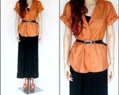 Copper Orange Silky Cargo Blouse (L)