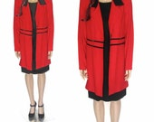 90's Two-In-One Long Red Jacket w/ Matching Black Mini Dress (S-M)