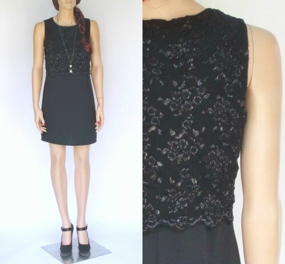 50% off STOREWIDE SALE Black Metallic Floral Party Dress (S)