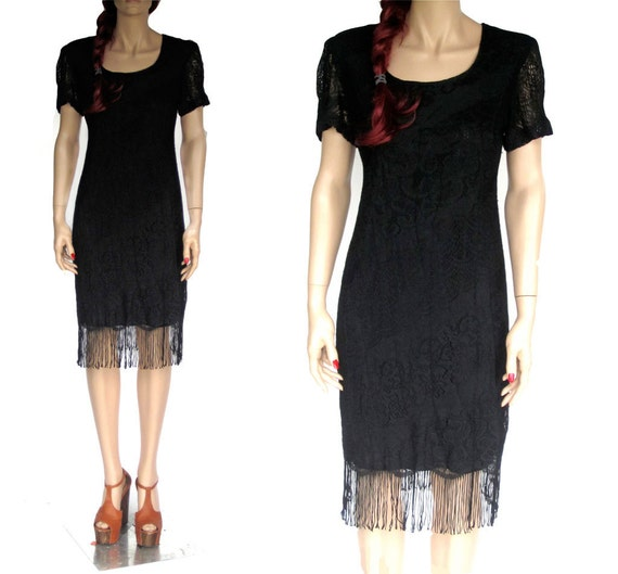 Vtg Black Lace Fringe FLAPPER Cocktail Dress (S-M)