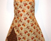 Harvest Sale:)  The BETTY Reversible Full Apron in Turkey Gobbles with Small Autumn Leaves - 0028