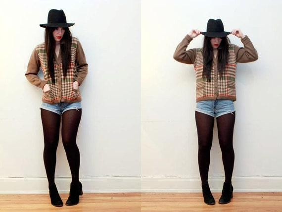 Plaid Brown Western Knit Wool Chunky Cardigan