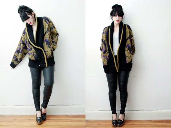 AMAZING Floral Wool Cocoon Cardigan Coat Slouch 1980s