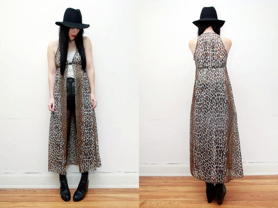 RESERVED Leopard Sheer Maxi Duster