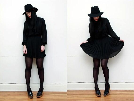 Vintage Nautical Black Sheer French Pussy Bow Tie mini Dress