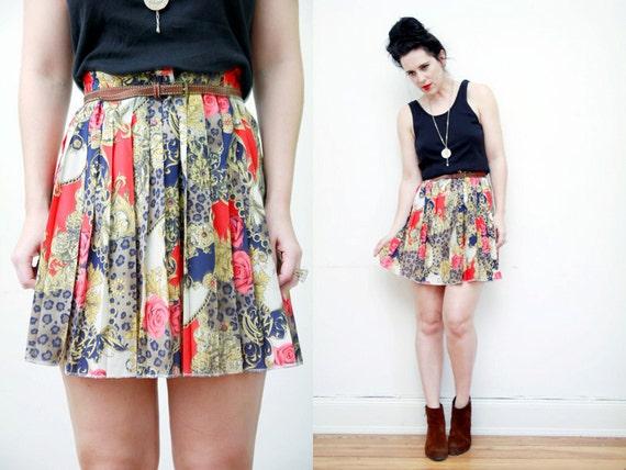 Leopard Chian Print Scarf Print Nautical Pleated Skirt