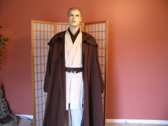 Reserved for Jamesdein Star Wars Jedi Knight Brown Hooded Robe and Obiwan Set Handmade Special Order