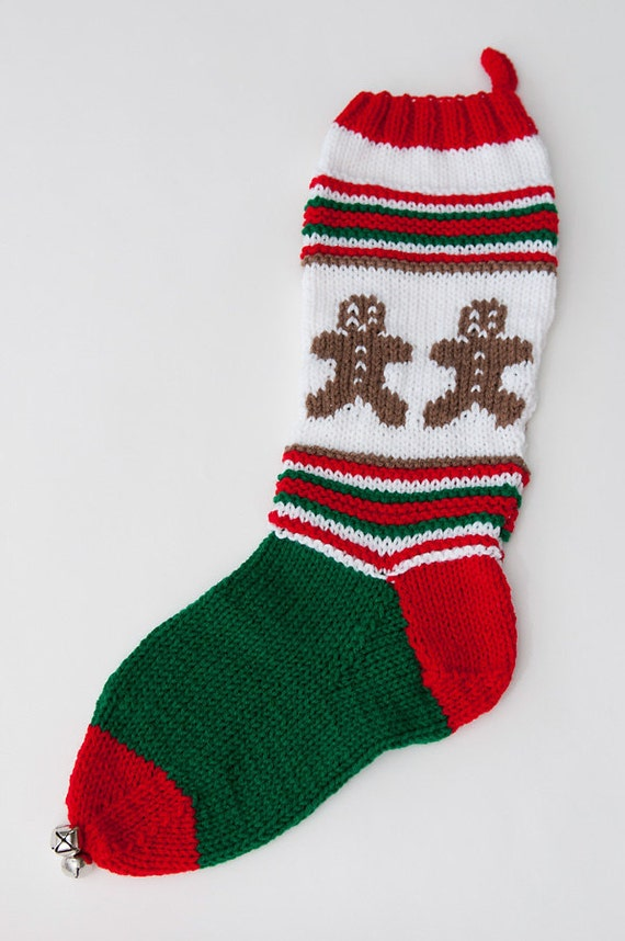 Knit Ginger Bread Christmas Stocking - Personalizable