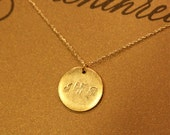 Personalized Script Triple Initial Disc Charm Gold / Letter Engraving Of Your Choice