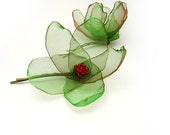 Bobby pins - Green flowers - set of 2