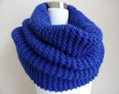 The Super Soft and Chunky Knit Cowl in Cobalt Blue