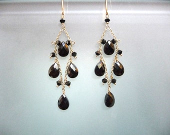 Black Cubic Zirconia and Swarovski crystal diamond shaped chandelier earrings