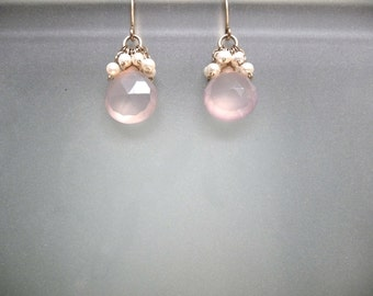 Pink Chalcedony with cluster of pearls