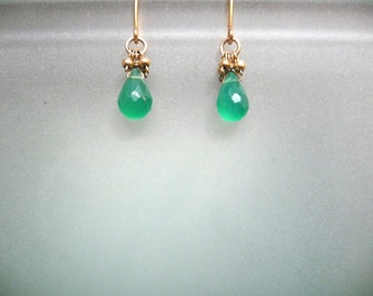 Petite Green Onyx drop accented with gold balls