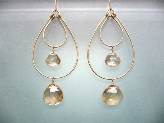 Champagne Quartz double hoop earrings