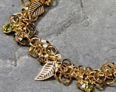 Women's Gift, Handmade Lucky Charm Bracelet with 22K Gold Plated and Dainty Gold Leafs