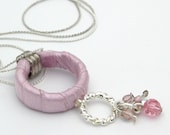 Gift For Women, Silver Necklace with Pink Satin Hoop, Unique Fabric Necklace, Fabric Hoop Necklace