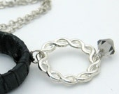 Gift For Women, Silver Necklace with Black Satin Hoop and Swarovski Crystal ,Modern Unique Design